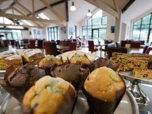 The cafe offers a wide range of cakes to accompany any afternoon tea