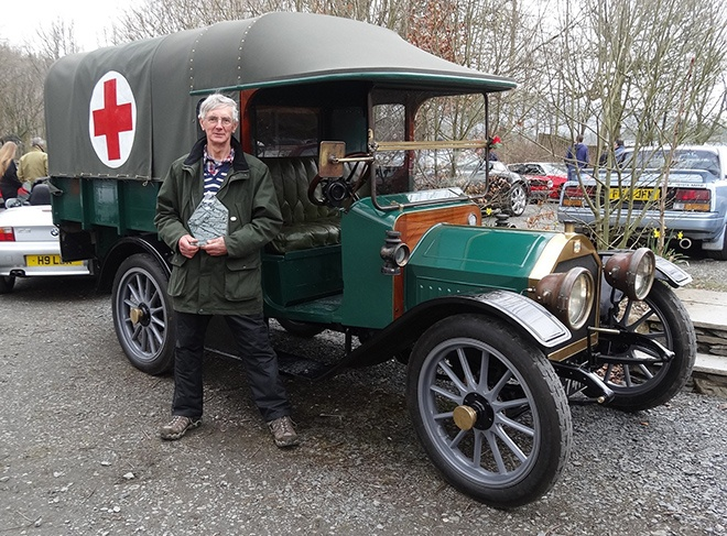 Ken Atkinson and his restored ex World War 1 ambulance