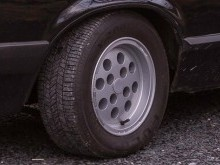 close up of wheels on car