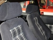 close up of the interior seating in car