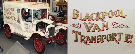 Model T Van photographed inside the museum and close-up image of the van's signage.