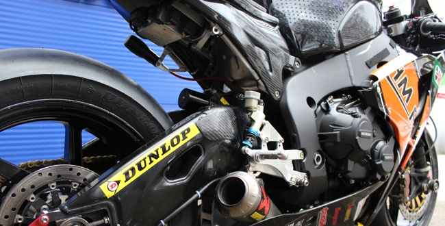 close up of the bike on display