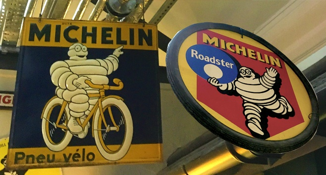 Two examples of early Michelin signage in the museum